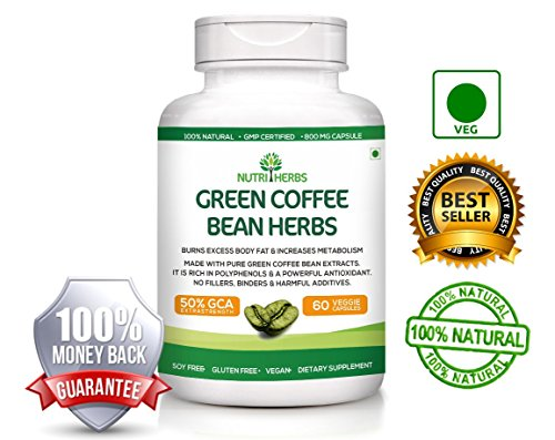Nutriherbs Green Coffee Bean Extract 800mg (50% GCA) 60 Capsules 100% Natural pure Weight loss supplement with Lifetime Money Back Guarantee  available at amazon for Rs.1999