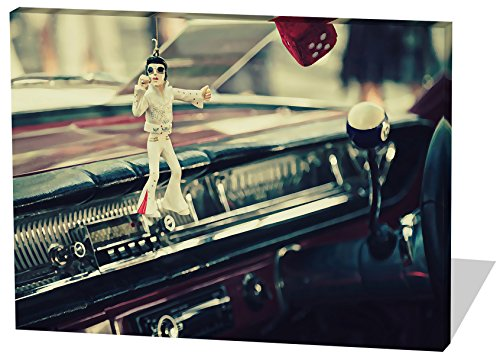 Oldtimer Rocker, Gemälde Effekt, schönes und hochwertiges Leinwandbild zum Aufhängen in XXL - 60cm x 40cm, echter Holzrahmen, effektiver Pigmentdruck, modernes Design für Ihr Büro oder Zimmer (Thriller Kostüm Für Verkauf)