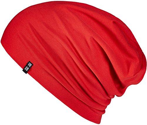 Enter the Complex Leichte Jersey Mütze, Damen und Herren, Slouch Beanie aus Baumwolle, Elastisch, S/M, Rot Rote Mütze