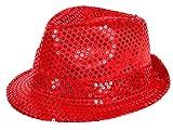 Alsino Clubstyle Partyhut Trilby Hut Blink Fedora Bogart Glitzerhut Glitter, Farbe wählen:TH-58 rot
