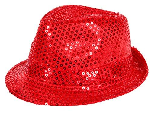 Clubstyle Partyhut Trilby Hut Blink Fedora Bogart Glitzerhut Glitter, Farbe wählen:TH-58 rot