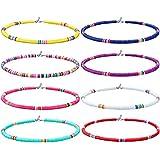Yolistar 8 Piezas Collar de Surfero, Collar Bohemio de Cuentas de Vinilo Joyas Para Mujeres NiñAs, Boho Conjunto de Collar Pa