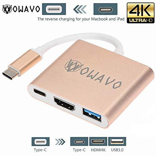 Preisvergleich Produktbild OWAVO USB C HDMI Adapter, 3 in 1 Multiport Adapter Typ c USB 3.1 Hub zu HDMI 4K 1080P HDTV Projektor / USB 3.0 / Typ-C Ladegerät Konverter für Macbook, Samsung S8, Note8 / Note9, Huawei mate 10, Chromebook Pixel