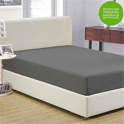 Jersey Spannbettlaken | 180x200 - 200x200 cm für Boxspringbetten und Wasserbetten | Anthrazit | 100% Baumwolle | klassisches Spannbetttuch für Standardmatratzen | OEKO-TEX®