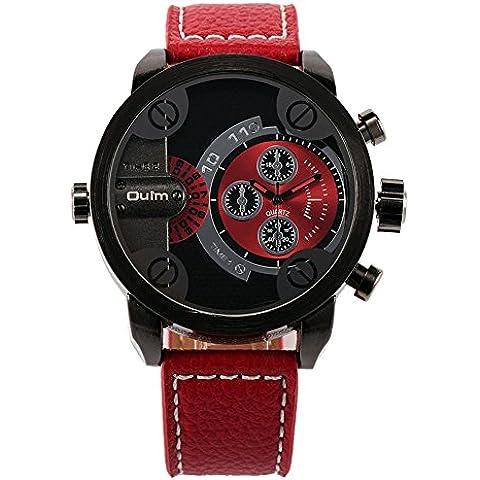 GL Uomini Russia militari per il tempo libero al quarzo da polso cinturino in metallo Sub quadrante Dual Time Display orologio resistente all'acqua, Rosso