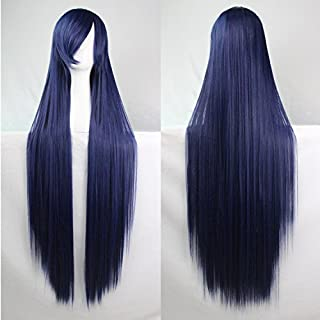 Womens Ladies Girls 100cm Indigo Color Long Straight Wigs High Quality Hair Carve Cosplay Costume Anime Party Bangs Full Sexy Wigs