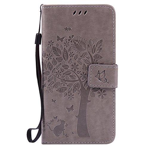 Voguecase® Per Samsung Galaxy J5 2016 J510, (grande albero - grigio) Elegante borsa in pelle Custodia Case Cover Protezione chiusura ventosa Con Stilo Penna