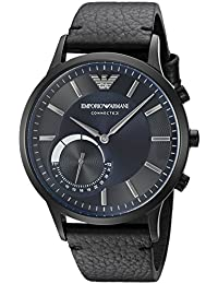 Emporio Armani Men's ART3004 Black Leather Connected Hybrid Smartwatch