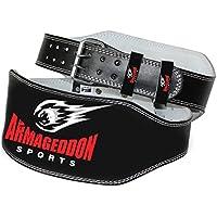 ARMAGEDDON SPORTS - Cinturón Acolchado para Levantamiento de Pesas, 15 cm, Piel auténtica,