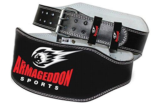 Armageddon Sports - Cinturón acolchado para levantamiento de pesas, 15 cm, piel auténtica, para gimnasio, para mayor comodidad y protección, Large