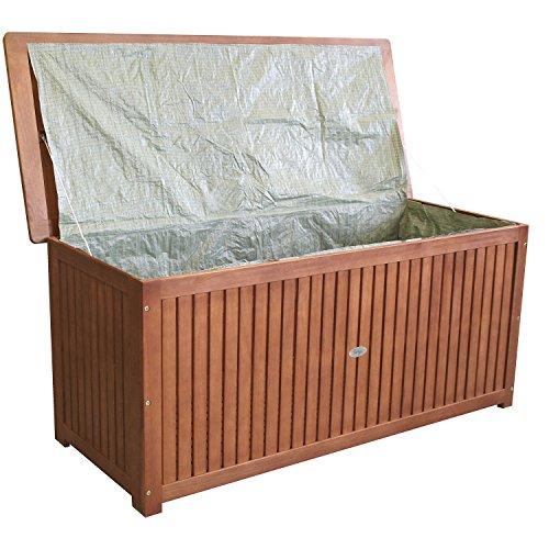 Wohaga Gartenbox 133x58x55cm inkl. Innenplane Auflagenbox Kissenbox Gartentruhe Holztruhe Hartholz...