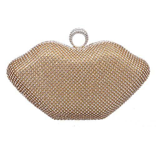 Bonjanvye Sexy Lips Purses with Rhinestone for Womens Clutch Bags AB Silver Gold