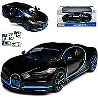 alles-meine GmbH Bugatti Chiron Coupe Schwarz Weltrekord 42 Sekunden 0-400-0 Km/h Ab 2016 1/24 Maisto Modell Auto mit Oder Ohne individiuellem Wunschkennzeichen