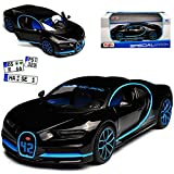alles-meine GmbH Bugatti Chiron Coupe Schwarz Weltrekord 42 Sekunden 0-400-0 Km/h Ab 2016 1/24 Maisto Modell Auto mit individiuellem Wunschkennzeichen