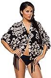at Strand-Jacke Mary Jäckchen mit Fransen Sommerliches Fransenjäckchen Strandkleid in schwarz (M-L (36-40))