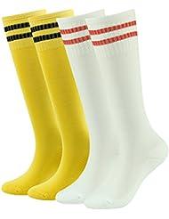 Lucky comercio adolescentes fútbol calcetines de fútbol niños niñas algodón rodilla alta calcetines de equipo deporte calcetines 2/4/8pares, Infantil, color 4-Pair Yellow&white, tamaño 8-16 Years