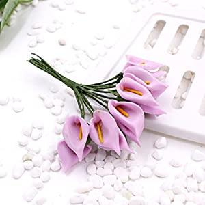 SMARTrich – Mini ramo de lirio de cala artificial para novia, boda, decoración del hogar, caja de regalo, 144 unidades, PE, Rose Pink, 1.5cm