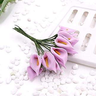 SMARTrich Mini ramo de lirio de cala artificial para novia, boda, decoración del hogar, caja de regalo, 144 unidades
