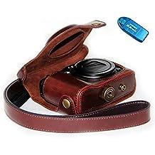 First2savvv XJPT-G16-10G10 preciso corpo in forma completa Cuoio Digital Camera Case Cover Bag con cinghia Canon PowerShot G15 G16 + lettore di schede SD