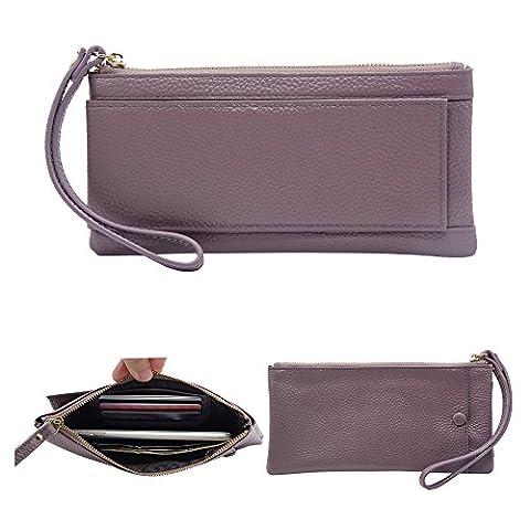 Befen Mini Full Grain Leather Wristlet Phone Wristlet Wallet Clutch with Wrist Strap / Card slots/ Cash pocket- Fit iPhone 7S Plus/Samsung Note 5 – Lavender Purple