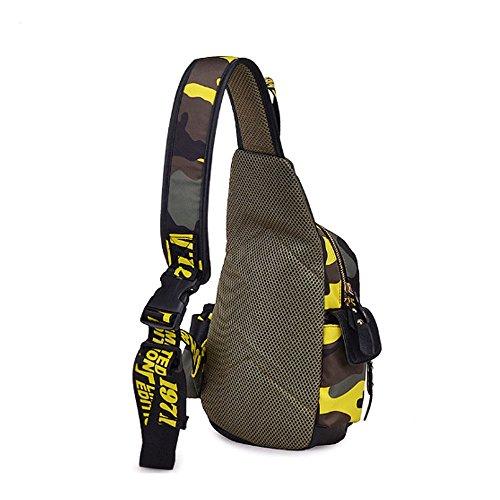 Camouflage Sling Pack Tasche Brust Tasche für Radfahren Wandern Camping Reise und Herren Damen mit verstellbarem Schulterriemen Gelb