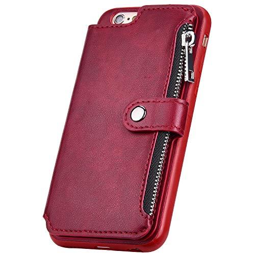 Surakey Kompatibel mit iPhone 6 Hülle,iPhone 6S Hülle Leder Case Wallet Tasche PU Tasche Handy Schutzhülle Brieftasche mit Reißverschluss Kartenfächer Lederhülle Geldbörse Case Tasche, Rot