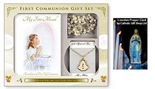 nk Set, für ein Mädchen mit Glas Rosenkranz Perlen & Flasche Lourdes Heilige Wasser ()