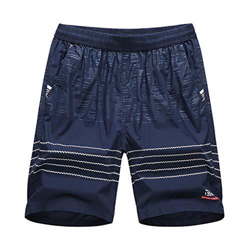 Xmiral Shorts Herren Einfach Gedruckte Elastische Taille Lässig Kurze Hosen Slim Fit Gerade Cargohose Jogginghose Sportshorts Chino-Hose(e Dunkelblau,L)
