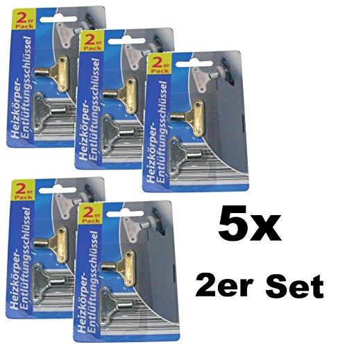 10x Heizkörper-Entlüftungsschlüssel Entlüftungsventil Heizung vierkant Metall