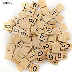 Cuttey Lot de 100 Blocs en Bois de 26 Lettres de l'alphabet anglaises en Bois de pin, D
