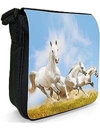 Superb Stunning Stallion White Horses Small Black Canvas Shoulder Bag - Size Small
