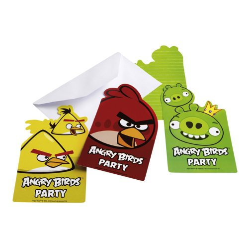 PARTY DISCOUNT Einladungskarten Angry Birds, 6 Stk.