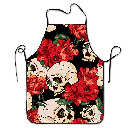 Sugar Rose Skull Unisex Cooking Kitchen Aprons Chef Apron Bib