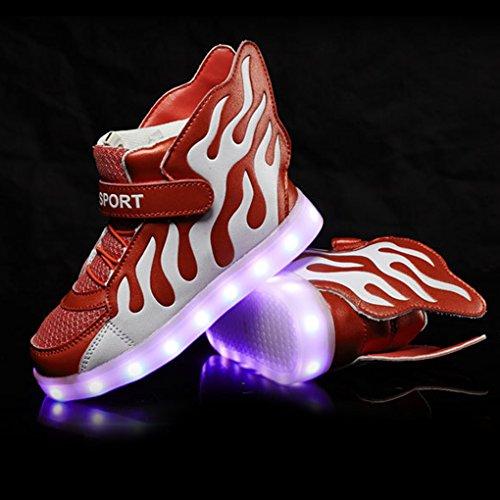 ENFANTS Baskets montantes Chaussures de sports Flamme Motifs d'éclairage à LED Chaussures chargement USB Chaussures de sport Noir