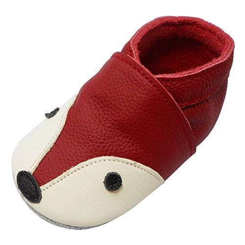 YIHAKIDS Premium Weiche Leder Krabbelschuhe Babyschuhe Kleinkind Lauflernschuhe(Rose Rot,18-24 Monate)