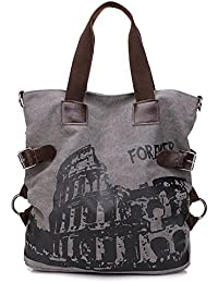 BYD - Mujeres Large Bag Bolsos bandolera Mutil Pocket Design Bag Crossbody Bag Tote Carteras de mano Canvas with Rome Arena Picture