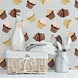 Fotomural - Cupcakes design pattern - Mural apaisado, papel pintado, fotomurales, murales pared, papel para pared, foto, mural, pared barato, decorativo
