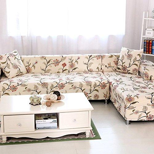HYSENM 1/2/3/4 Sitzer Sofabezug Sofaüberwurf Stretch weich elastisch farbecht Blumen-Muster, Beige 4 Sitzer 235-300cm