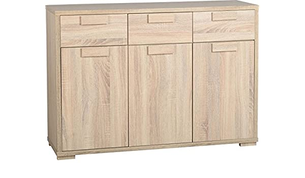 Xpress Delivery Cambourne 3 Door 3 Drawer Sideboard In Sonoma Oak