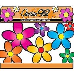 Aurum 92 - Pegatinas de coche, diseño de margaritas estilo funky, multicolor