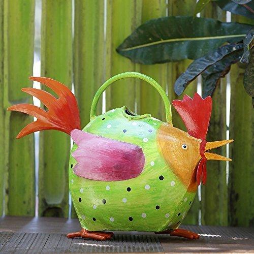 Cadeaux de Thanksgiving Decoratif non rustique canette Arrosoirs avec poignee pour de plein air Interieur accessoires de decoration de jardin (Poule verte)