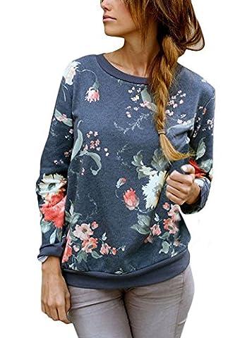 Pullover Damen Sweatshirt Classic Elegante Blumen Muster Langarm Rundkragen Oversize Mode Festlich Blusen Stretch Casual Locker Jungen Mädchen Tops Oberteil T-Shirt