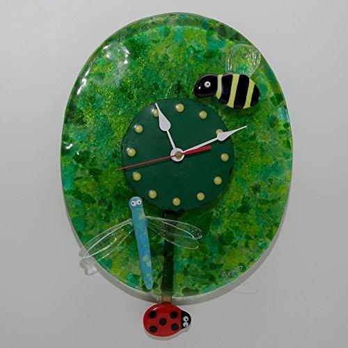 orologio-da-parete-insetti-con-un-ape-una-libellula-un-coccinella-pendolo-insects-wall-clock-with-a-