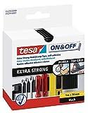 Tesa 55229 On & Off Extra Stark, 1 m x 50 mm, Schwarz, 36 Stück