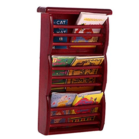 MagiDeal 1:12 Bibliothèque Magazines étagère Plastique Mobilier pour Poupées Dollhouse Accs - Rouge foncé