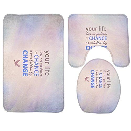 RedBeans Badematte, Lustige Zitate, Ihr Leben Nicht Get Buchstabe by Chance IT Gets Brief von. JPEG Badezimmer Teppich Teppich, Antirutschmatte 3-Teiliges Badezimmer Set