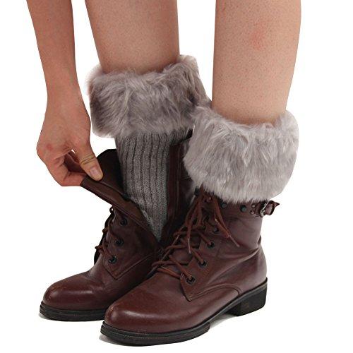 Butterme Faux Fur Leg accessori calze stivali invernali donne Scaldamuscoli