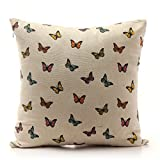 Luxbon Pastiche Colorful Butterflies Cushion Cover Sofa Throw Pillow Case Shabby-chic Home Decor 41x41cm