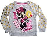 Minnie Mouse Disney Pullover Mädchen Rundhalsausschnitt (Grau, 122-128)