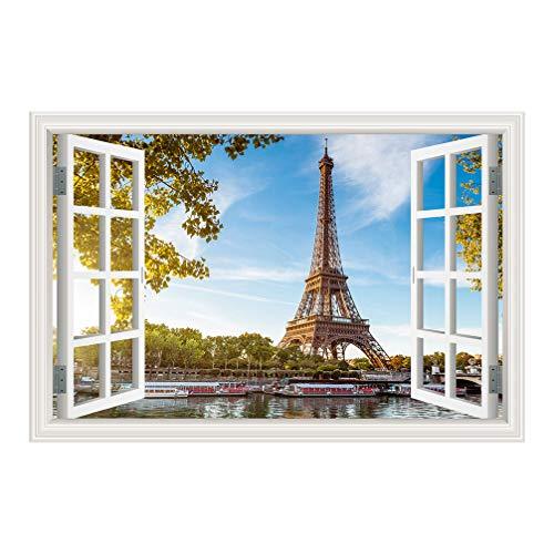 FEDZH Wanddekoration Poster Gefälschte 3D Fenster Aufkleber Kinderzimmer Landschaft Wandbild Paris Tower(90CM X 60CM) (Paris-fenster-aufkleber)